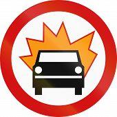 stock photo of motor vehicles  - Polish traffic sign prohibiting thoroughfare of motor vehicles carrying flammable goods - JPG