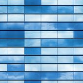 picture of framing a building  - Modern office building wall made of blue glass and steel frame square seamless photo texture - JPG