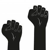 stock photo of clenched fist  - Symbol of clenched fist held in protest - JPG