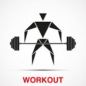 stock photo of barbell  - Workout logo with triangle man and barbell - JPG