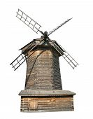 foto of household farm  - Old wooden windmill isolated over white background - JPG