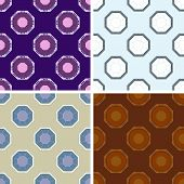 foto of octagon  - seamless colored octagon pattern set in different colors - JPG