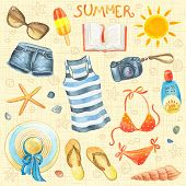 image of shale  - Collection of summer watercolor elements - JPG