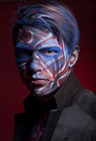 image of mauri  - A creepy portrait of a halloween man with bloody body art and face art - JPG