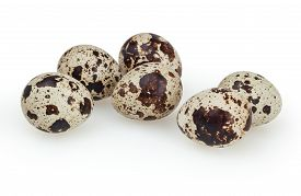 picture of quail egg  - Quail eggs isolated on white background with clipping path - JPG
