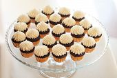 pic of buffet  - Delicious sweet buffet with cupcakes on the plate - JPG