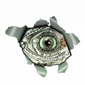 stock photo of observed  - A Cyborg observed through a torn paper - JPG