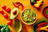 stock photo of nachos  - Mexican food mixed guacamole nachos chili sauce dipping cheddar cheese lemon pico de gallo - JPG