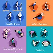 foto of step aerobics  - Fitness aerobic strength and body shaping exercises 4 flat icons square composition banner abstract isolated vector illustration - JPG