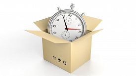 stock photo of chronometer  - Silver chronometer in a cardboard box - JPG