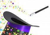 picture of magic-wand  - Magic hat and wand with a twirl of multicolor stars - JPG