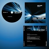 CD cover design with copy space, vector. Blue color.