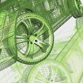 Primer plano de las ruedas de la máquina sobre fondo negro
