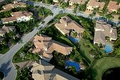 stock photo of opulence  - Aerial photograph of a Florida neighboorhood taken in 2008 - JPG