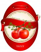 Label for a product (ketchup, sauce) with photorealistic vector illustration of tomatoes.