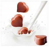 Vector illustration. Chocolate candies falling into the milky splash.