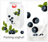 Vector illustration. Background for design of packing yoghurt with photo-realistic vector of blueber