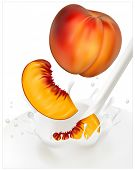 Vector illustration. Ripe  peaches falling into the milky splash.