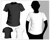 Men's white and black ( back and front) t-shirt template with human body silhouette.