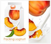 Vector illustration. Background for design of packing yogurt with photo-realistic vector of peach.