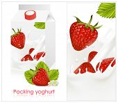 Vector illustration. Background for design of packing yogurt with photo-realistic vector of strawber