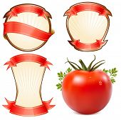 Постер, плакат: Метка для продукта кетчуп соус с фотореалистичных векторные иллюстрации помидора