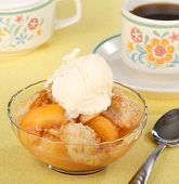 Peach Cobbler And Ice Cream