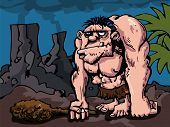 foto of loin cloth  - Caveman with big club in prehistoric setting - JPG