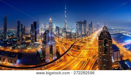 Dubai Skyline At Night Panoramic