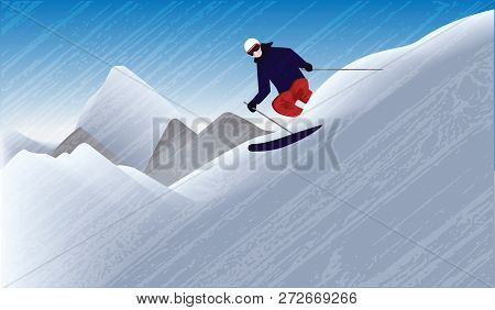 Skier On The Mountain Downhill