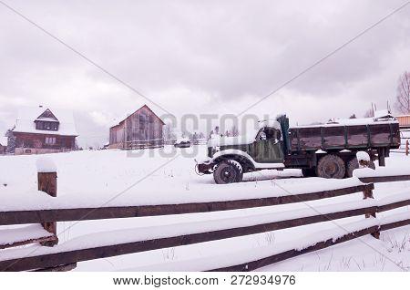 Truck In The Backyard Wooden