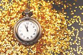 Vintage Clock Shows Almoust Midnight. Decorated With Confetti. New Year Countdown Concept. Flat-lay, poster