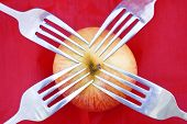 Red Apple With Four Forks