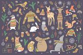 Vector Hand Drawn Cute Forest Animals Collection. Stylish And Elegant Cartoon Animals. Cute And Chil poster