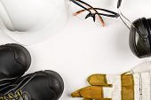 Work Safety And Protection Equipment - Protective Shoes, Safety Glasses, Gloves And Hearing Protecti poster