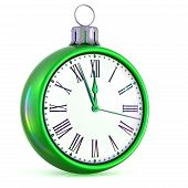 New Years Day Clock Face Countdown Christmas Ball Midnight Time poster