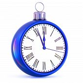New Year 12 Clock Last Hour Midnight Time Countdown Pressure. Christmas Ball Decoration Ornament Whi poster