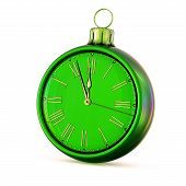 Christmas Ball Green 12 Clock Face New Year Midnight Last Hour Countdown Pressure. Decoration Time O poster