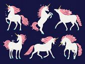 White Unicorn With Pink Mane. Cartoon Pretty Unicorn Horse Isolated On Background With Rose Mane For poster
