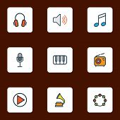 Audio Icons Colored Line Set With Timbrel, Piano, Headphone And Other Amplifier Elements. Isolated   poster