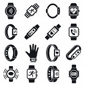 Health Fitness Tracker Icon Set. Simple Set Of Health Fitness Tracker Vector Icons For Web Design On poster