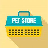 Pet Store Basket Logo. Flat Illustration Of Pet Store Basket Vector Logo For Web Design poster