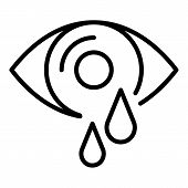 Eye Tears Icon. Outline Eye Tears Vector Icon For Web Design Isolated On White Background poster
