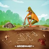 Archeology Background With Text And Archeologist Character During Archeological Excavations With Din poster