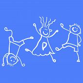 Three Playing Children. Style Of Childrens Drawing. Vector Illustration. Outline Drawing On A Light  poster