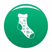One Sock Icon. Simple Illustration Of One Sock Vector Icon For Any Design Green poster