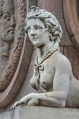 Statue Of Beautiful Sphinx In Downtown Of Potsdam, Germany, Portrait, Details poster