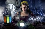 Psychic Or Fortune Teller With Crystal Ball And Horoscope Zodiac Sign Of Scorpio poster