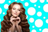 Long hair. Waves Curls Updo Hairstyle. Hair Salon. Fashion model. Woman with healthy shiny hair girl poster