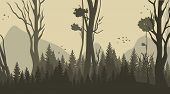 Vector Illustration Cartoon Forest Background. Panorama Silhouette Forest. Trees, Bushes, Grassland  poster
